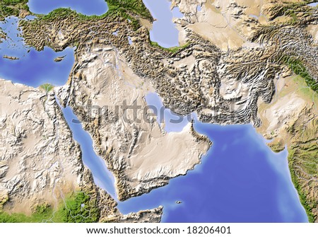 Near East from Egypt to Pakistan. Shaded relief map, colored according to vegetation. Data source: NASA