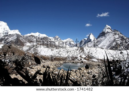 Near Gokyo's 5th lake. Mount Everest is in the background in the center.
