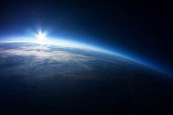 Near Space photography - 20km above ground / real photo taken from weather balloon / universe stratosphere /