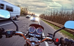 Near the collision of a car with a motorcycle