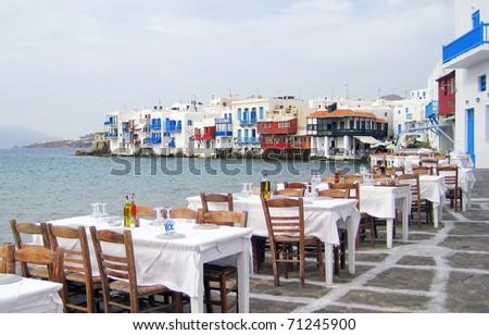 near the sea Little Venice island of Mykonos