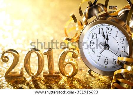 Nearly Twelve O\'clock Midnight,New Year 2016 Concept.