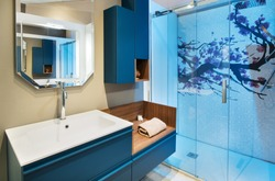 Neat bathroom interior with blue shower cubicle and wall mounted cabinet and vanity with fresh rolled towel under a mirror with reflection