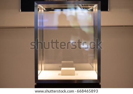 Neat cube empty glass showcase display