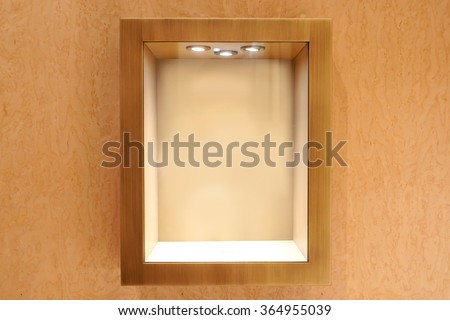 Neat wooden Empty glass showcase display #364955039