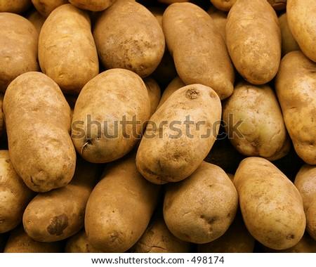 neatly stacked potatoes
