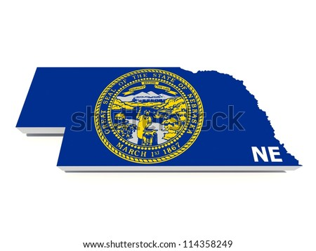 nebraska state flag on 3d map