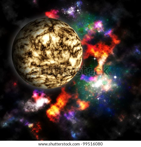 Nebula and  planet in deep space
