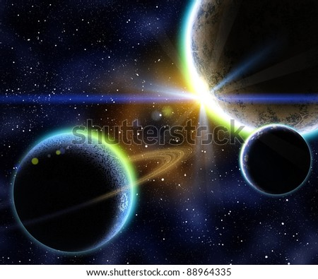 Nebula with stars and the three planet on the foreground