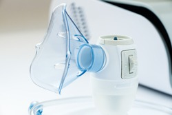 nebulizer closeup. apparatus for artificial ventilation of the lungs. treatment of viral diseases of the lungs and respiratory system