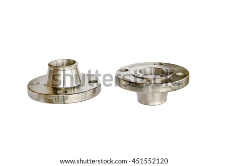 Neck flange, stainless isolated on white background