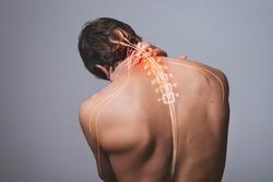 Neck pain, man back acute painful zone