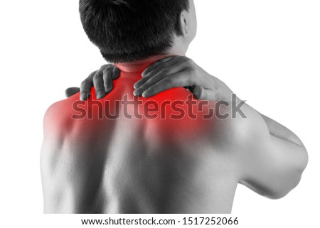 Neck pain, man suffering from backache isolated on white background, painful area highlighted in red