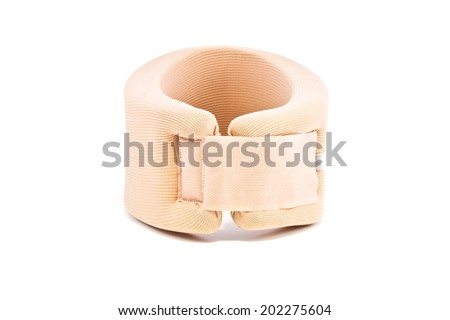 Neck support brace on white background , soft cervical collar