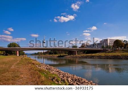 Neckar river in Mannheim