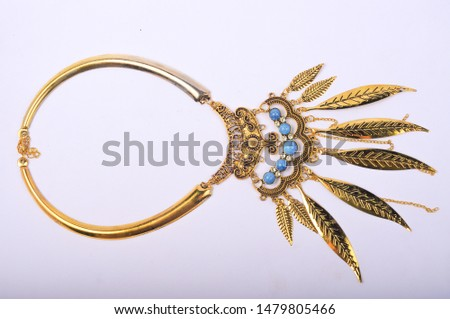 Necklace accessories with white background