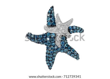 necklace and starfish pendant with diamonds and sapphires