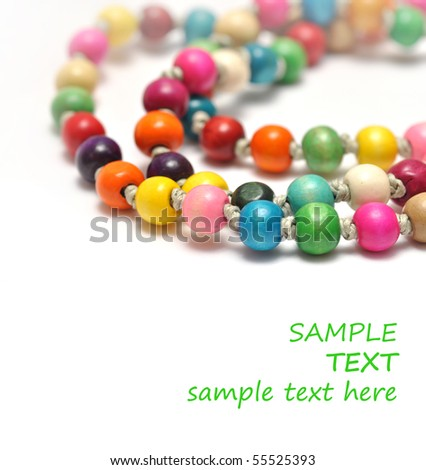 Necklace made of colorful beads isolated on white