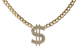 Necklace of dollar symbol with golden chain isolated on white background