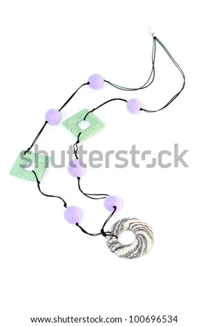 Necklace on a white background. Hand made.