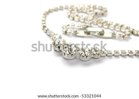 Necklace with  gemstones isolated on white background.