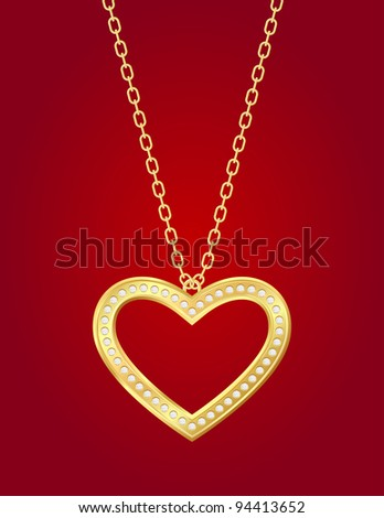 Necklace with golden heart and brilliants on a red background