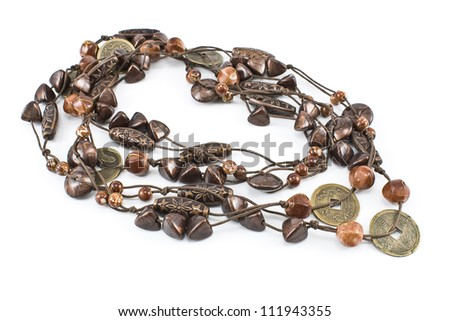 Necklace with leather strips and ceramics isolated on white - stock photo