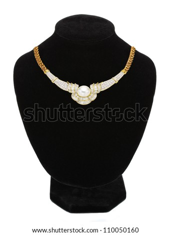 necklace with pearl on black mannequin isolated on white
