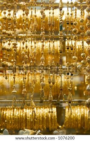 Necklaces and bracelets at Dubai's Gold Souq.