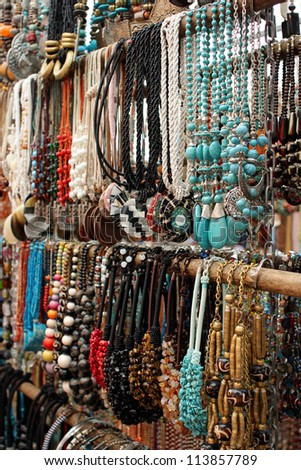 Necklaces for sale at a market