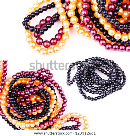 Necklaces of colored balls. Close-up Photos