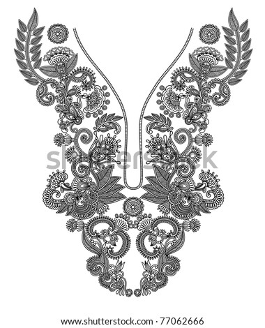 Neckline embroidery fashion - stock photo