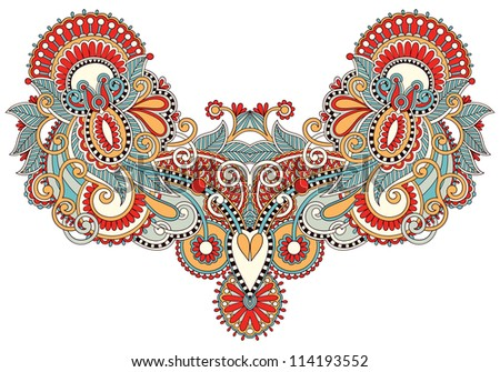 Neckline embroidery fashion. Raster version - stock photo