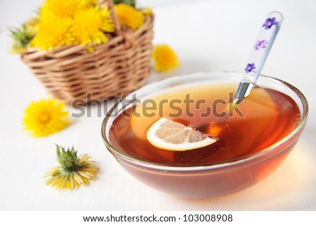 Nectar from flowers of dandelions with a  lemon