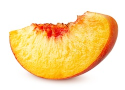 Nectarine or peach, slice, isolated on white background, clipping path, full depth of field