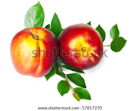 nectarine with green leaves over white background