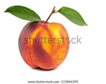 nectarine with leaves on a white background