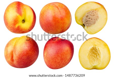 Nectarines Isolated. Collection of different whole nectarine fruits and halves nectarine fruits isolated on white background with clipping path
