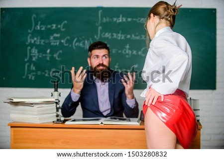 Need for real experience. Teacher and student. Sexy seduction. Sexy butt red latex skirt in front of teacher. Private lesson. Seductive offer. Check knowledge. Desire for knowledge. Sex knowledge.