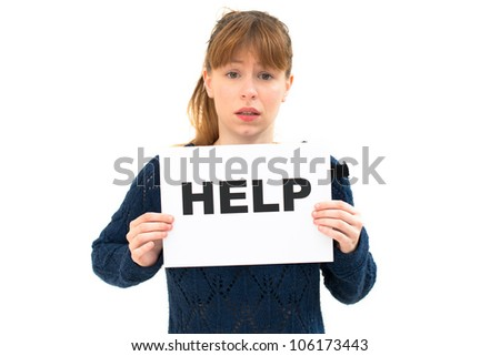 NEED HELP? portrait young woman with board HELP