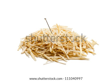 Needle in a haystack , Isolated on white