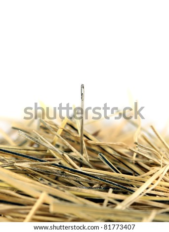 Needle in a haystack on white.