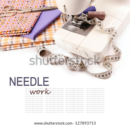 Needle work hobby background with sewing machine and tools