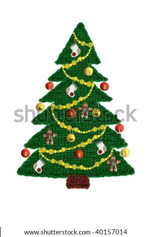 Needlework. knitted Christmas tree