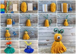 Needlework step by step, collage how to make a monster out of colored yarn.