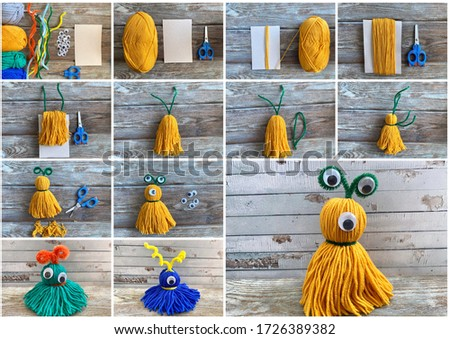 Needlework step by step, collage how to make a monster out of colored yarn. Сток-фото ©