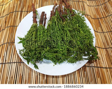 Neem is blanched and placed in white plate.It is a bitter but useful herb to help nourish the elements, nourish the blood.It is commonly eaten with sweet fish sauce and grilled fish.It is a Thai food
