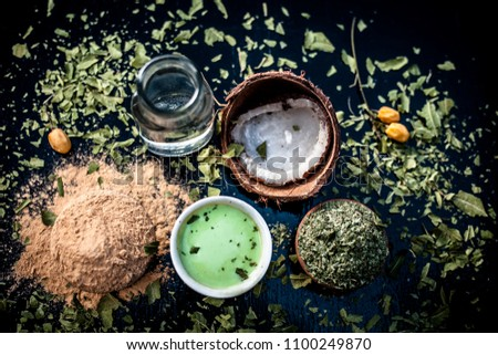 Neem ubtan or face pack or facial with entire ingredients i.e. Coconut water, powder of neem leaves, and fuller's earth or mulpani mitti.