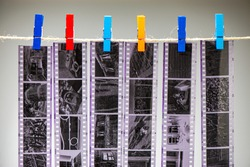 Negative black and white film is dried in the laboratory. For your design.