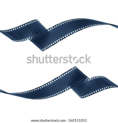 Negative film strip on white background